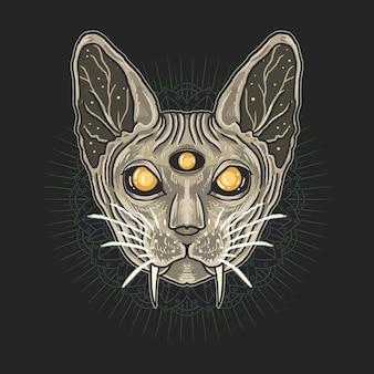 Ilustração de cabeça de gato egípcio