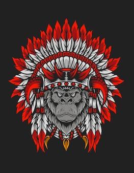 Ilustração de cabeça de gorila apache indiano vintage