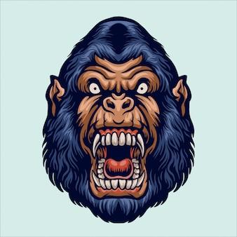 Ilustração de cabeça de gorila bravo