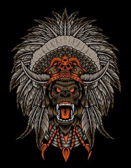 Ilustração de cabeça de gorila com chapéu de apache indiano