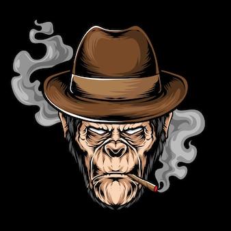 Ilustração de cabeça de gorila de fumar