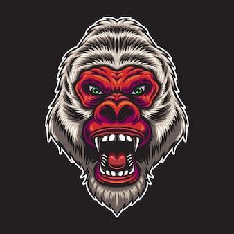 Ilustração de cabeça de gorila vermelha com raiva