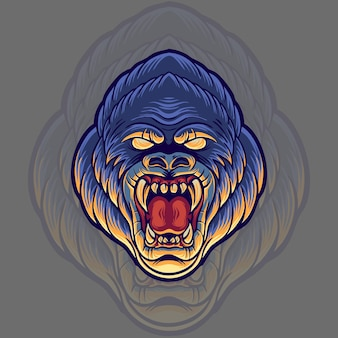 Ilustração de cabeça de gorila zangada