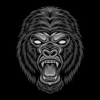 Ilustração de cabeça de gorila zangado