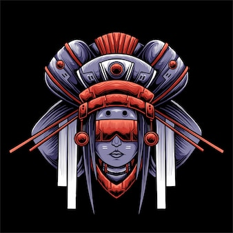 Ilustração de cabeça de gueixa estilo mecha