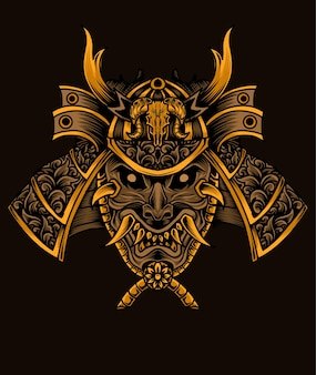 Ilustração de cabeça de guerreiro samurai