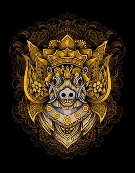 Ilustração de cabeça de javali com ornamento de coroa barong
