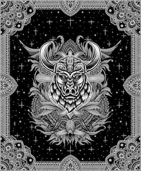 Ilustração de cabeça de javali viking com ornamento de gravura vintage