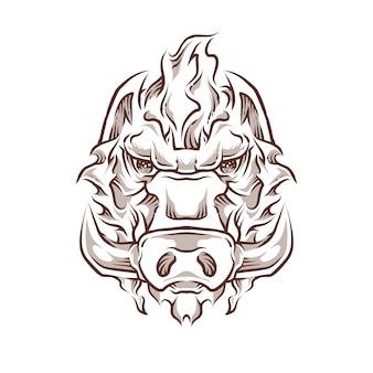 Ilustração de cabeça de javali