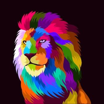 Ilustração de cabeça de leão colorida com estilo pop art