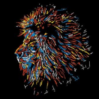 Ilustração de cabeça de leão colorido abstrato