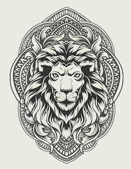 Ilustração de cabeça de leão com ornamento de gravura vintage