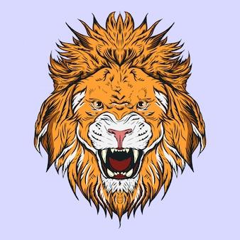 Ilustração de cabeça de leão, para logotipos, mascotes ou outras necessidades de design