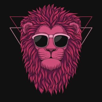 Ilustração de cabeça de leão rosa