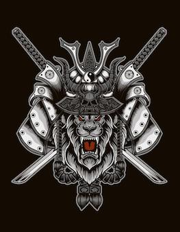 Ilustração de cabeça de leão samurai com espada de duas katana