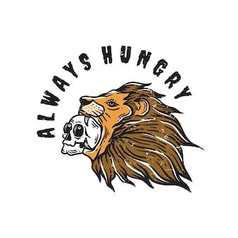 Ilustração de cabeça de leão selvagem comendo crânio em fundo branco