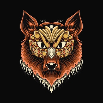 Ilustração de cabeça de lobo à noite