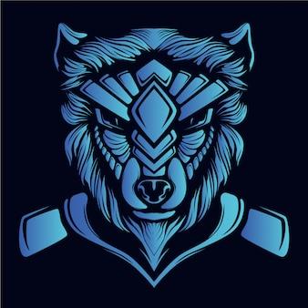 Ilustração de cabeça de lobo azul
