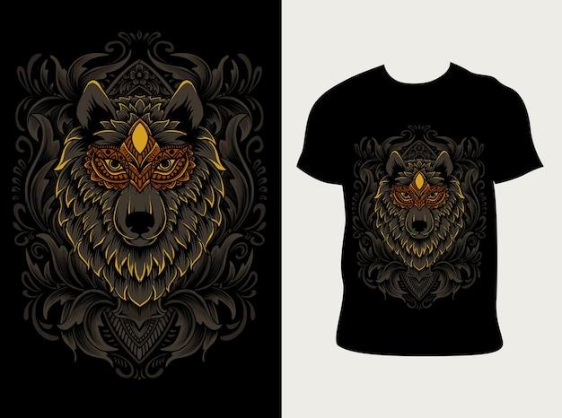 Ilustração de cabeça de lobo com gravura de ornamento com design de camiseta
