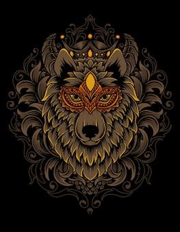 Ilustração de cabeça de lobo com ornamento vintage
