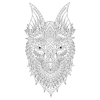 Ilustração de cabeça de lobo desenhada à mão em zentangle