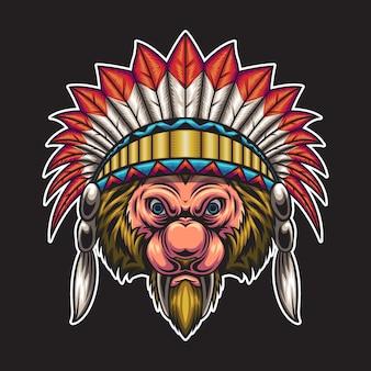Ilustração de cabeça de lobo indiano
