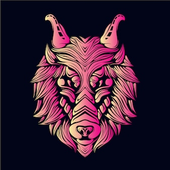 Ilustração de cabeça de lobo rosa