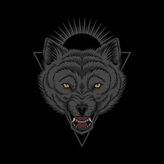 Ilustração de cabeça de lobo zangada
