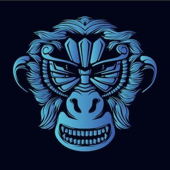 Ilustração de cabeça de macaco azul
