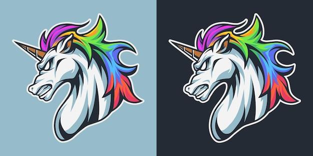 Ilustração de cabeça de mascote de unicórnio arco-íris premium