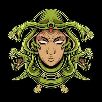 Ilustração de cabeça de medusa no escuro