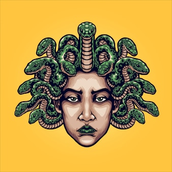 Ilustração de cabeça de medusa