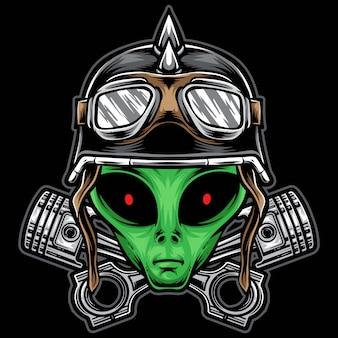 Ilustração de cabeça de motoqueiro alienígena