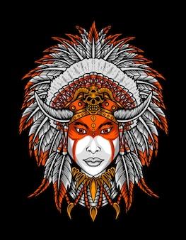 Ilustração de cabeça de mulher apache indiana