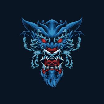 Ilustração de cabeça de ornamento de lobo