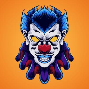 Ilustração de cabeça de palhaço assustador