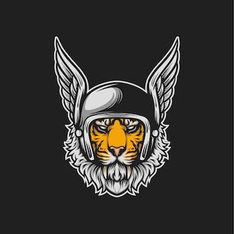 Ilustração de cabeça de piloto de tigre