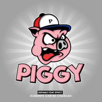 Ilustração de cabeça de porco divertido e cativante com efeito de fonte chique