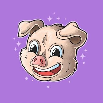 Ilustração de cabeça de porco feliz estilo grunge