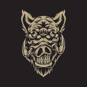 Ilustração de cabeça de porco
