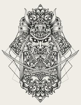 Ilustração de cabeça de samurai com enfeite de gravura
