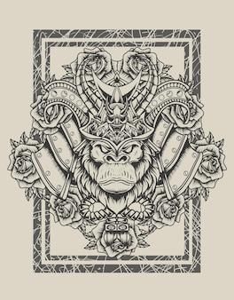 Ilustração de cabeça de samurai de gorila com estilo monocromático de flor rosa