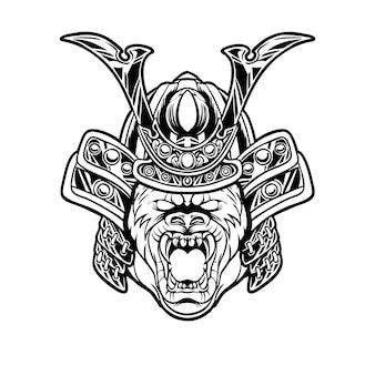 Ilustração de cabeça de samurai de gorila