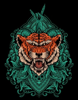 Ilustração de cabeça de tigre com ornamento de gravura vintage