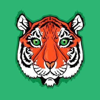 Ilustração de cabeça de tigre isolado no estilo vintage para têxteis, impressão e tatuagem