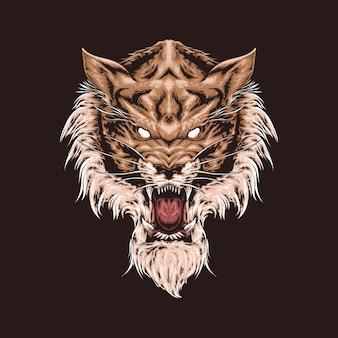 Ilustração de cabeça de tigre realista