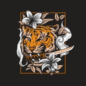 Ilustração de cabeça de tigre zangado com espada katana