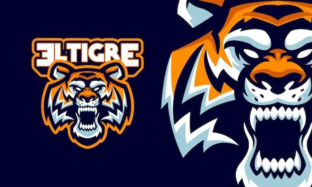 Ilustração de cabeça de tigre zangado com presas afiadas, logotipo esportivo, mascote