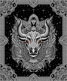 Ilustração de cabeça de touro com ornamento de gravura vintage