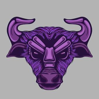 Ilustração de cabeça de touro ou búfalo